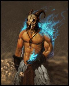 Xaman com máscara de caveira de bode